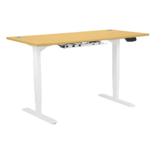 Electric Height Adjustable Desk Frame In White, With 25mm Desktop 1400W X 800D In Beech