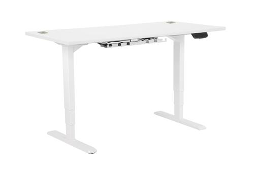 Electric Height Adjustable Desk Frame In White, With 25mm Desktop 1400W X 800D In White