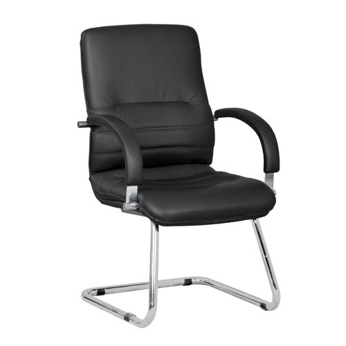 Linea Medium Back Executive Cantilever Armchair, Chrome Frame, Black Leather, Requires Assembly