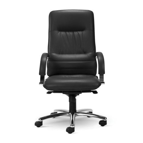 Linea High Back Executive Swivel Armchair, Chrome Base, Black Leather, Requires Assembly