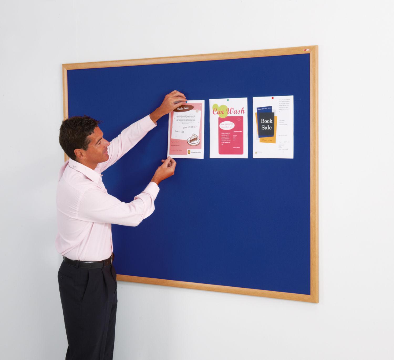 Eco-Friendly Blue Felt Noticeboard - 900 x 1200mm- Light Oak Effect Frame