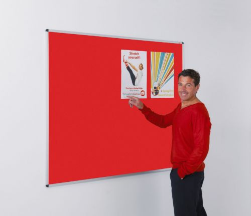 Metroplan Aluminium Framed Noticeboard 900x600mm Red 44532/RD