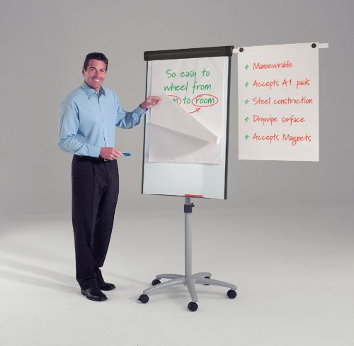 Buzzard Mobile Flipchart Easel - With Side Arms