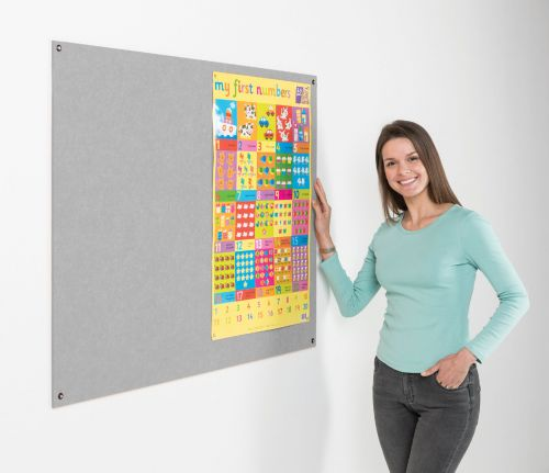Metroplan Eco-Colour Resist-a-Flame Frameless Noticeboard 2400x1200mm Grey UFB84/GY