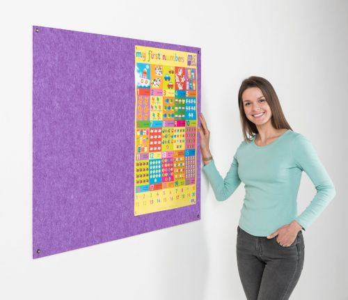 Metroplan Eco-Colour Resist-a-Flame Frameless Noticeboard 2400x1200mm Purple UFB84/PU
