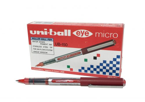 Uni-ball Eye UB150 Rollerball Pen Micro 0.5mm Tip 0.3mm Line Red Ref 162560000 [Pack 12]
