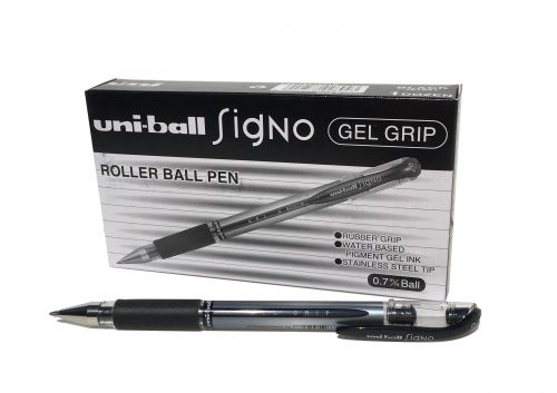 Uni-ball UM151S SigNo Gel Grip Rollerball 0.7mm Tip 0.5mm Line Black Ref 751081000 [Pack 12]