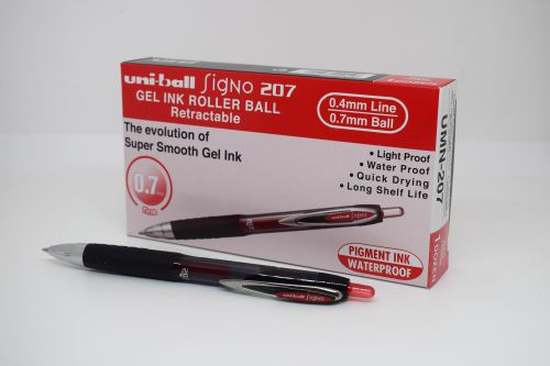 Uni-ball SigNo 207 Gel Rollerball Pen Retractable Fine 0.7mm Tip 0.5mm Line Red Ref 762658000 [Pack 12]