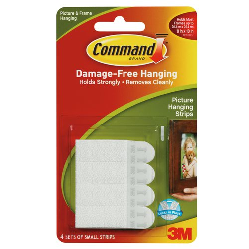 3M Command Adhesive Small Picture Hanging Strips White (4) 17206