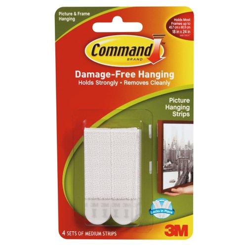 3M Command Adhesive Medium Picture Hanging Strips (4) 17201-4PK