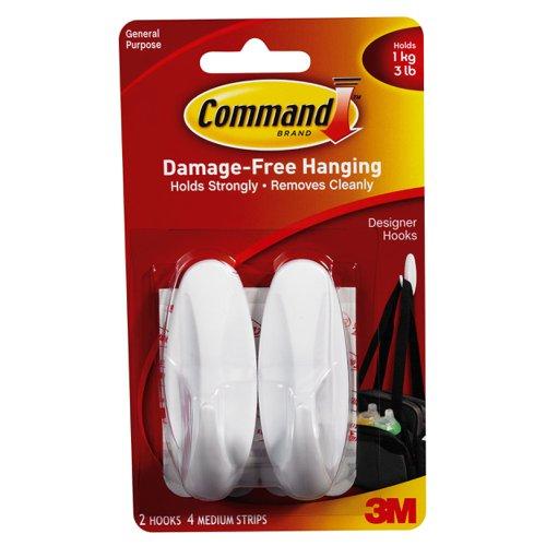 3M Command Adhesive Medium Oval Hooks (2) 17081