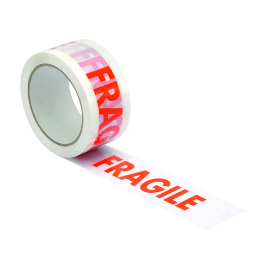 Printed Tape Fragile 48mm x66m White/Red