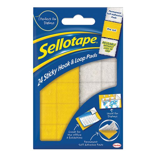 Sellotape Sticky Hook & Loop Pads 20x20mm (20) 1445176