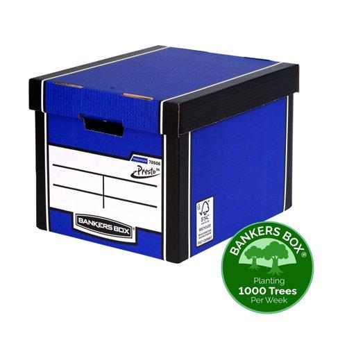 Fellowes Bankers Box Premium Presto Tall Storage Box Blue 0072902