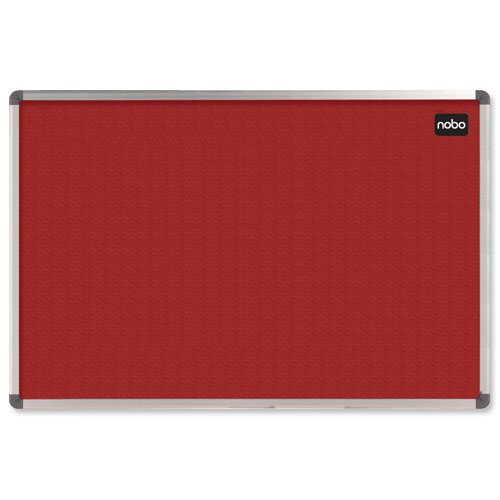 Nobo Classic Felt Noticeboard Aluminium Frame 900x600mm Red 1902259