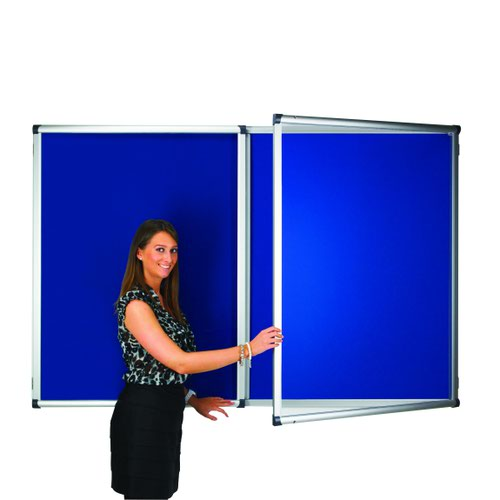 Adboards Blazemaster Metropolitan Glazed Tamperproof Noticeboard 900x600mm Blue TMBL-0906-01