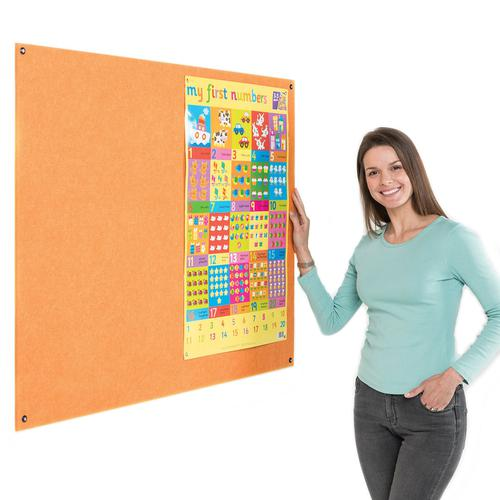 Metroplan Eco-Colour Resist-a-Flame Frameless Noticeboard 900x600mm Orange UFB32/OR