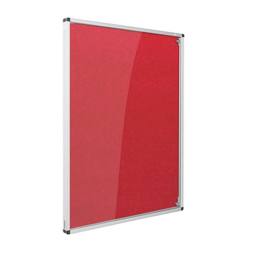 Metroplan Eco-Colour Resist-a-Flame Lockable Tamperproof Noticeboard 900x600mm Red CBT32/RD
