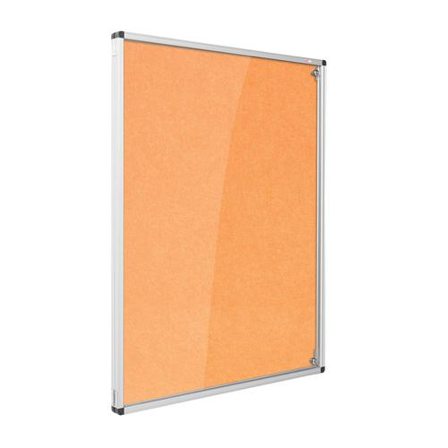 Metroplan Eco-Colour Resist-a-Flame Lockable Tamperproof Noticeboard 1200x1200mm Orange CBT44/OR