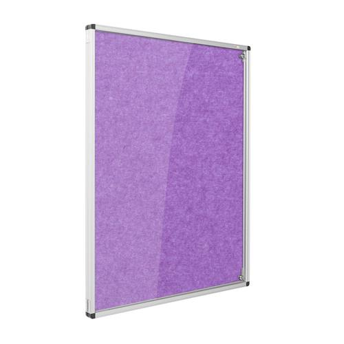 Metroplan Eco-Colour Resist-a-Flame Lockable Tamperproof Noticeboard 1200x1200mm Purple CBT44/PU