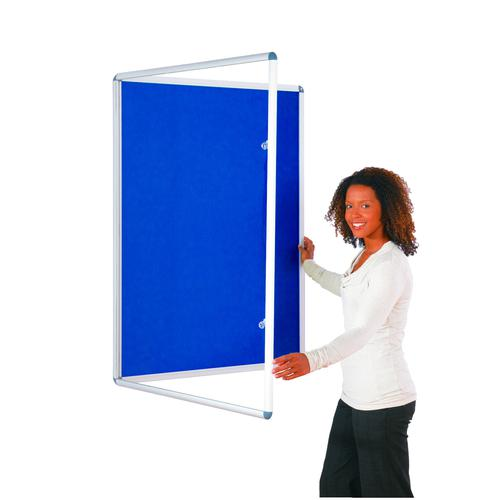 Metroplan Lockable Noticeboard 900x600mm Blue TP9060/DB