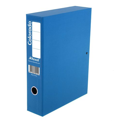 Rexel Colorado Box File Lockspring A4 Blue 30443
