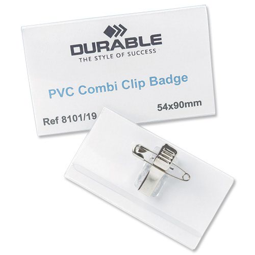 Durable Combi Clip Name Badge 90x54mm (50) 810119
