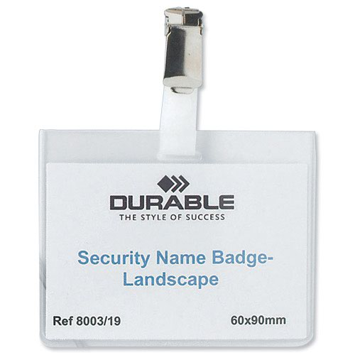 Durable Security Name Badge 90x60mm Landscape (25) 8003