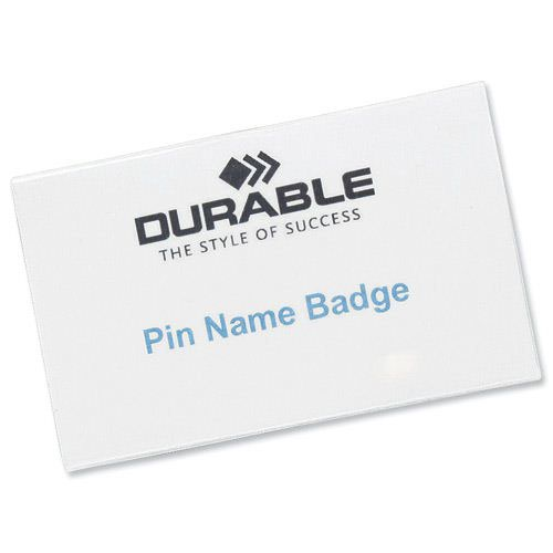 Durable Pin Name Badge 90x54mm (50) 800419