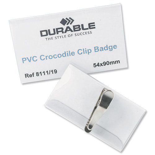 Durable Crocodile Clip Badge 90x54mm (25) 811119