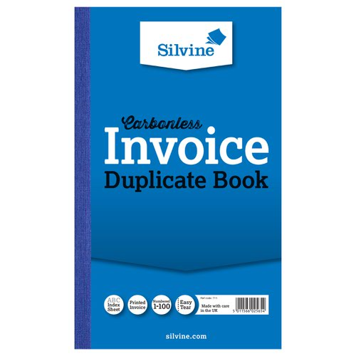 Silvine Duplicate Book NCR 210x127mm Invoice 711