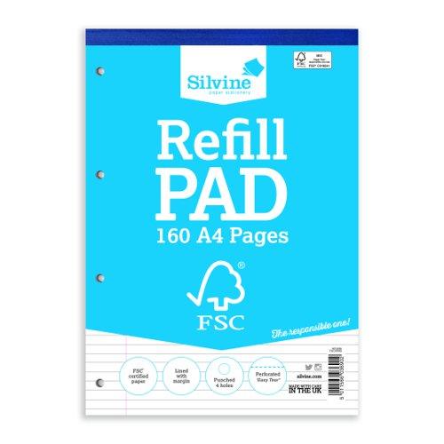Silvine FSC Refill Pad A4 Feint Ruled & Margin 160pages FSCRP80