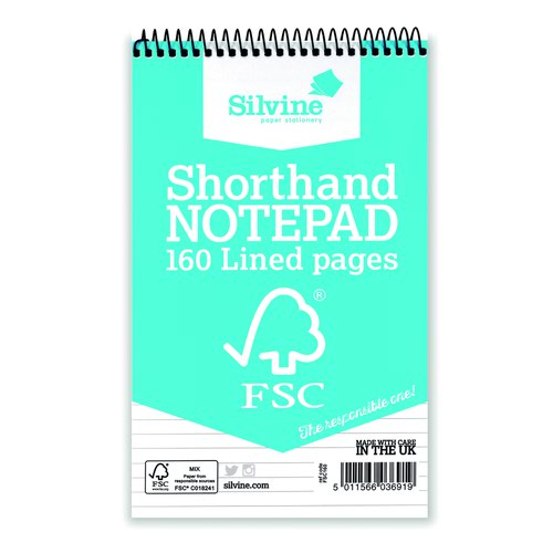 Silvine FSC Shorthand Notebook 200x127mm 160pages FSC160