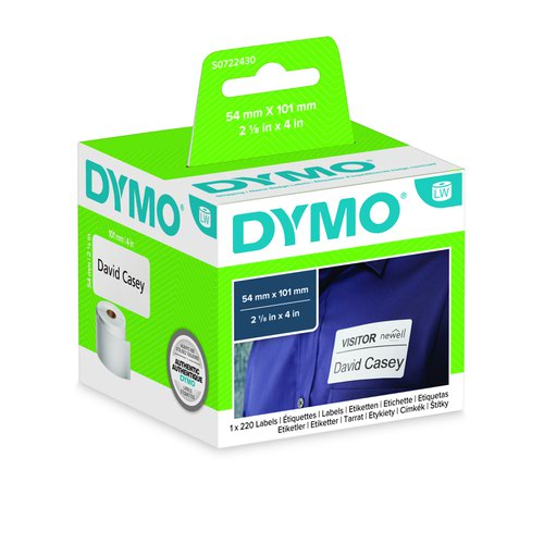 DYMO LabelWriter Shipping/Name Badge Labels 54x101mm White 99014 S0722430