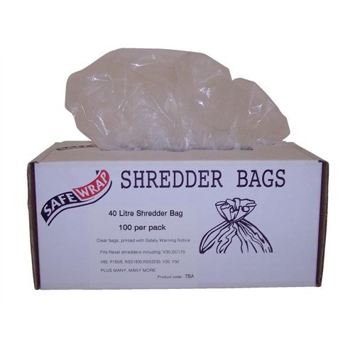SafeWrap Shredder Bags 40 Litre Clear (100) RY0470