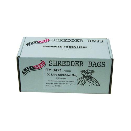 SafeWrap Shredder Bags 100 Litre Clear (50) RY0471