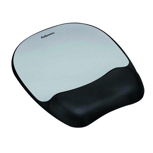 Fellowes Memory Foam Wrist Rest Mouse Pad Silver 917580