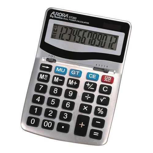 Aurora Heavy Duty 12 Digit Desktop Calculator Metal Finish DT303