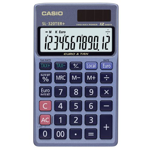 Casio Pocket Calculator Tax & Currency Function 12 Digit SL-320TER+