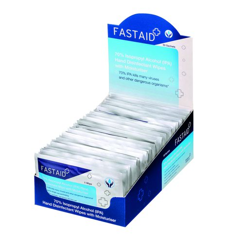 FastAid 70 Percent IPA Hand Disinfectant Sachet Wipes (8x50) 5028
