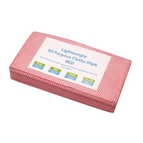 All Purpose Lightweight Cleaning Cloths Red (50)