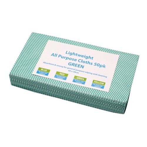 All Purpose Lightweight Cleaning Cloths Green (50)