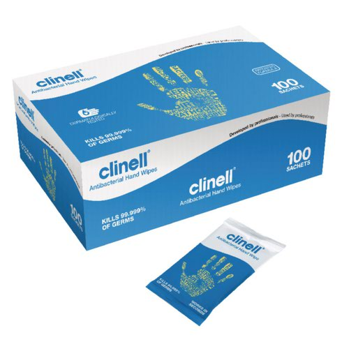 Clinell Antibacterial Hand Wipes (100) GCAHW100
