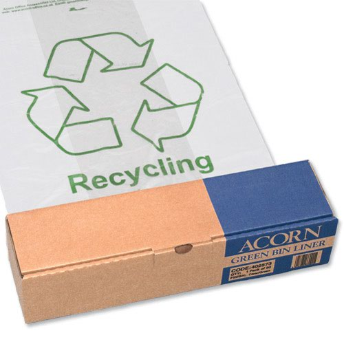 Green Recycling Bin Liners Clear (50) 402573