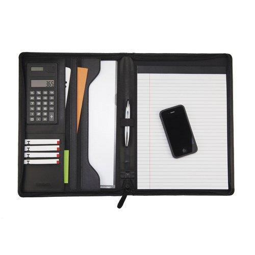 Monolith Leather Look Zipped Folio/Calculator/Pad 2914