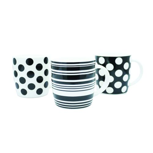 Squat Mugs Black & White Dots & Stripes 11oz (12)