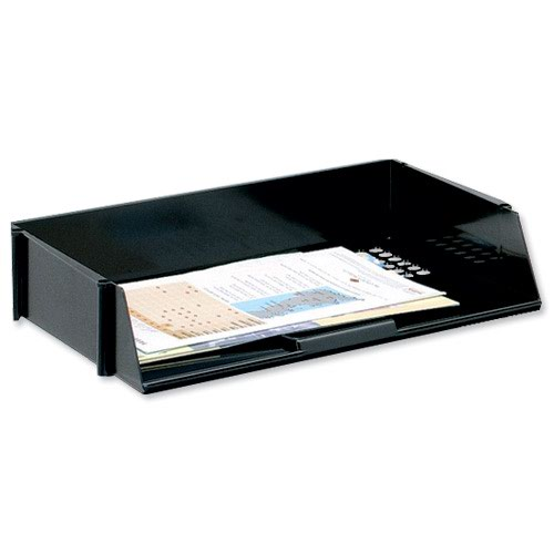 Value Wide Entry Letter Tray Black