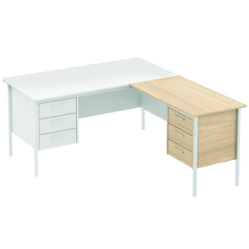 Baseline Norton Secretarial Return Desk 3 Drawer Pedestal RH 1025x550x740mm Oak SRRH/BO