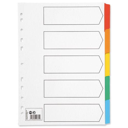Value Mylar Dividers 5 Part A4 Assorted Colours