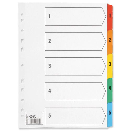 Value Mylar Index 1-5 Numeric A4 Assorted Colours
